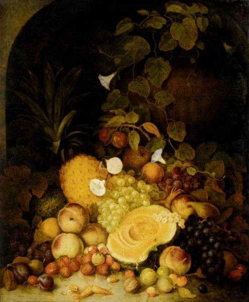 Still Life With Peaches Plums Strawberries And Tropical Fruits In An Architectural Niche